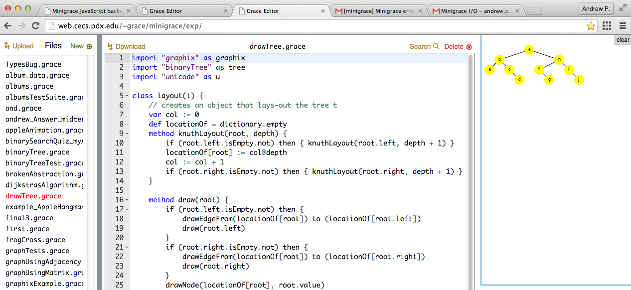 screen shot of IDE showing  Grace code to visualize a tree, and the drawing that it generates.